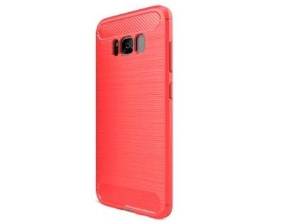 Flexible Carbon Fibre Style Case for Samsung Galaxy S8+ - Fluorescent Coral Soft Cover