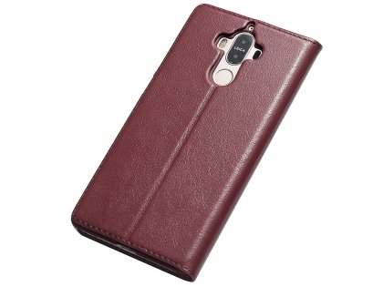 Top Grain Leather Case With Windows for Huawei Mate 9 - Rose Wood