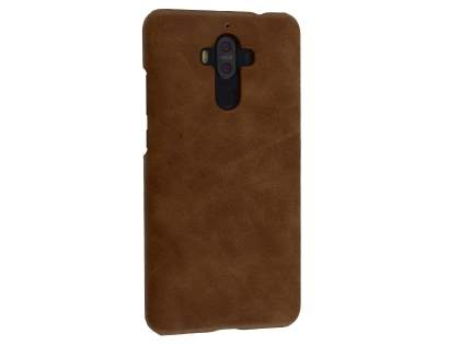 Top Grain Leather Back Cover for Huawei Mate 9 - Dark Brown Hard Case