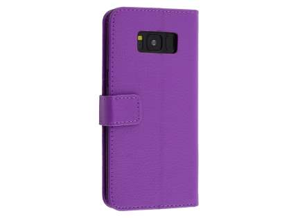 Synthetic Leather Wallet Case with Stand for Samsung Galaxy S8+ - Purple Leather Wallet Case