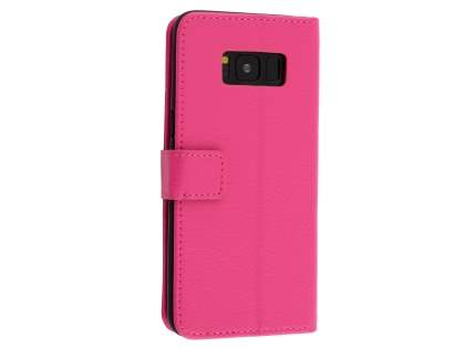 Synthetic Leather Wallet Case with Stand for Samsung Galaxy S8+ - Pink Leather Wallet Case
