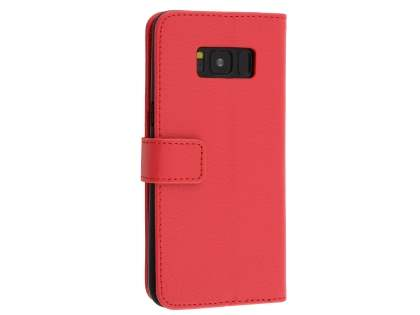 Synthetic Leather Wallet Case with Stand for Samsung Galaxy S8+ - Red