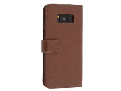 Synthetic Leather Wallet Case with Stand for Samsung Galaxy S8+ - Brown Leather Wallet Case