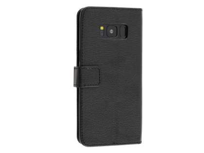 Synthetic Leather Wallet Case with Stand for Samsung Galaxy S8+ - Classic Black Leather Wallet Case
