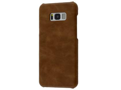 Top Grain Leather Back Cover for Samsung Galaxy S8 - Dark Brown Hard Case