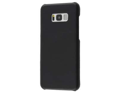 Top Grain Leather Back Cover for Samsung Galaxy S8 - Classic Black Hard Case