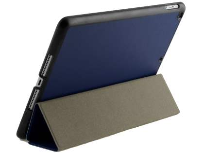 Premium Slim Synthetic Leather Flip Case with Stand for iPad 9.7 (2018/2017) - Navy Blue/Black Leather Flip Case