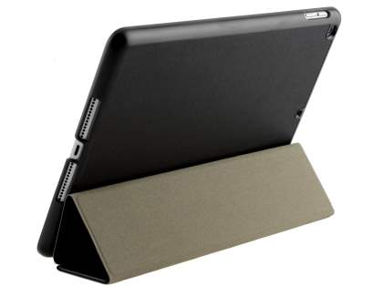 Premium Slim Synthetic Leather Flip Case with Stand for iPad 9.7 (2018/2017) - Black/Black Leather Flip Case