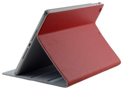 Premium Genuine Leather Slim Portfolio Case with Stand for iPad 9.7 (2018/2017) - Red Leather Flip Case