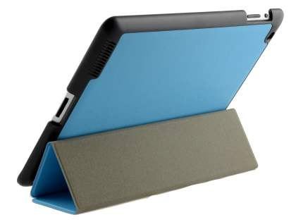 Premium Slim Synthetic Leather Flip Case with Stand for iPad 2/3/4 - Sky Blue Leather Flip Case