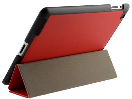 Premium Slim Synthetic Leather Flip Case with Stand for iPad 2/3/4 - Red Leather Flip Case