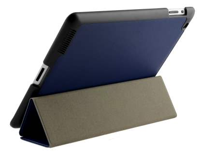 Premium Slim Synthetic Leather Flip Case with Stand for iPad 2/3/4 - Navy Blue Leather Flip Case