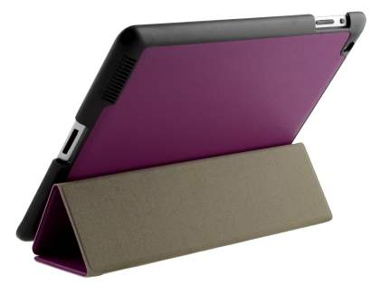 Premium Slim Synthetic Leather Flip Case with Stand for iPad 2/3/4 - Purple Leather Flip Case