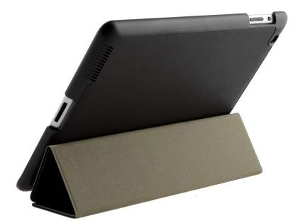 Premium Slim Synthetic Leather Flip Case with Stand for iPad 2/3/4 - Classic Black Leather Flip Case
