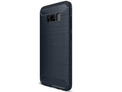 Flexible Carbon Fibre Style Case for Samsung Galaxy S8+ - Midnight Blue Soft Cover