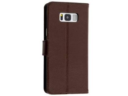 Premium Leather Wallet Case for Samsung Galaxy S8+ - Brown Leather Wallet Case