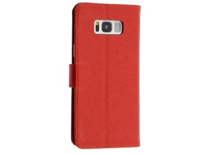 Premium Leather Wallet Case for  Samsung Galaxy S8 - Red Leather Wallet Case