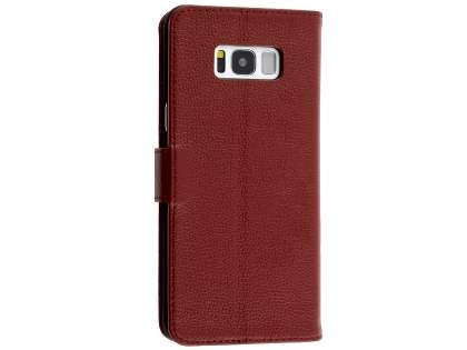 Premium Leather Wallet Case for  Samsung Galaxy S8 - Burgundy Leather Wallet Case