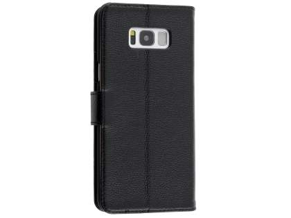 Premium Leather Wallet Case for  Samsung Galaxy S8 - Black Leather Wallet Case
