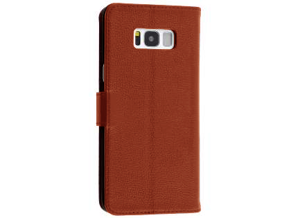Premium Leather Wallet Case for  Samsung Galaxy S8 - Brown Leather Wallet Case