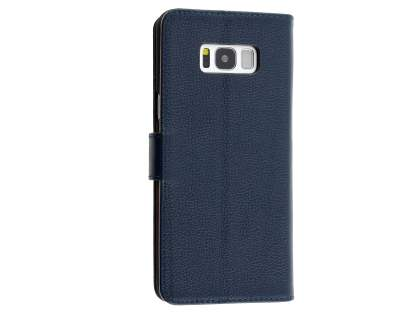 Premium Leather Wallet Case for  Samsung Galaxy S8 - Navy Leather Wallet Case
