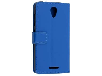 Slim Synthetic Leather Wallet Case with Stand for ZTE Telstra 4GX Plus - Blue Leather Wallet Case