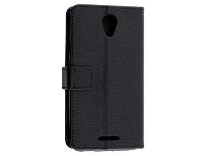 Slim Synthetic Leather Wallet Case with Stand for ZTE Telstra 4GX Plus - Classic Black Leather Wallet Case