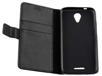 Slim Synthetic Leather Wallet Case with Stand for ZTE Telstra 4GX Plus - Classic Black