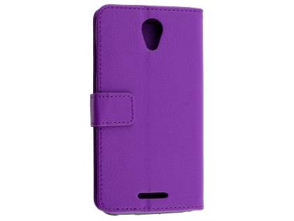 Slim Synthetic Leather Wallet Case with Stand for ZTE Telstra 4GX Plus - Purple Leather Wallet Case