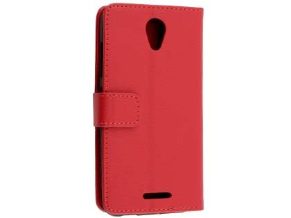 Slim Synthetic Leather Wallet Case with Stand for ZTE Telstra 4GX Plus - Red Leather Wallet Case