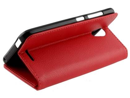 Slim Synthetic Leather Wallet Case with Stand for ZTE Telstra 4GX Plus - Red