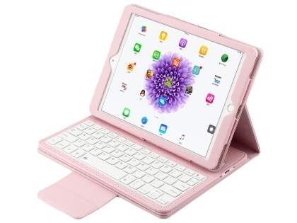 Synthetic Leather Bluetooth Keyboard Case for iPad 9.7 (2017)/Pro 9.7/Air 2/Air - Baby Pink Keyboard