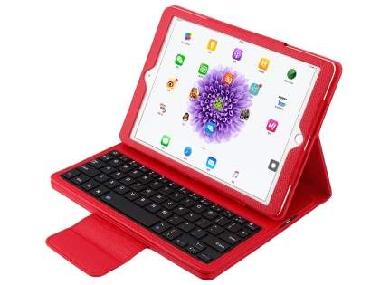Synthetic Leather Bluetooth Keyboard Case for iPad 9.7 (2017)/Pro 9.7/Air 2/Air - Red Keyboard
