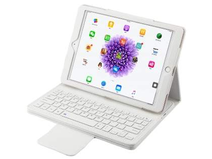 Synthetic Leather Bluetooth Keyboard Case for iPad 9.7 (2017)/Pro 9.7/Air 2/Air - White Keyboard