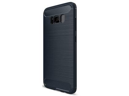 Flexible Carbon Fibre Style Case for Samsung Galaxy S8 - Midnight Blue Soft Cover