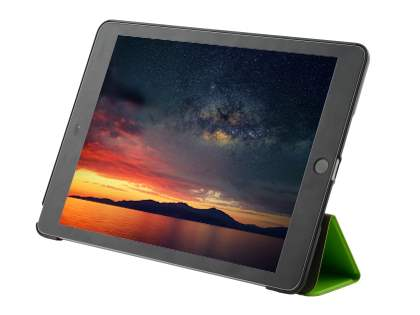 Premium Slim Synthetic Leather Flip Case with Stand for iPad 9.7 (2017) 5th Gen - Green/Black