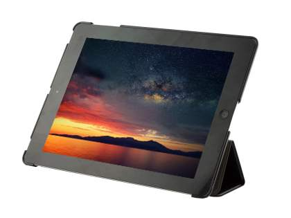 Premium Slim Synthetic Leather Flip Case with Stand for iPad 2/3/4 - Classic Black