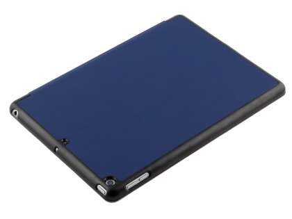 Premium Slim Synthetic Leather Flip Case with Stand for iPad 9.7 (2018/2017) - Navy Blue/Black