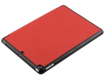 Premium Slim Synthetic Leather Flip Case with Stand for iPad 9.7 (2017) 5th Gen - Red/Black