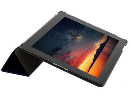 Premium Slim Synthetic Leather Flip Case with Stand for iPad 2/3/4 - Navy Blue