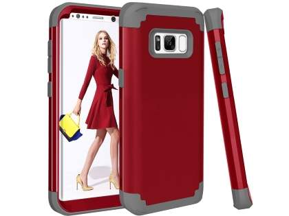 Defender Case for Samsung Galaxy S8+ - Red/Grey Impact Case