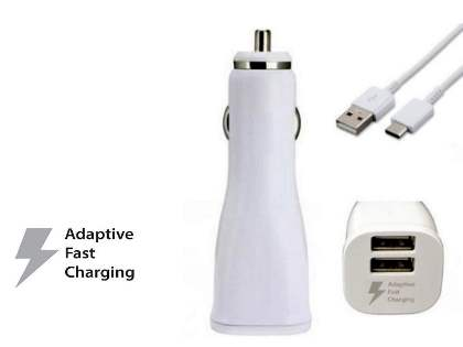 Samsung Adaptive Fast Charging Dual-Port Car Charger with 1.2m USB Type-C Cable - White Car Charger