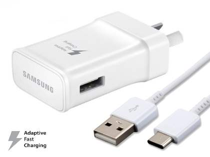 Genuine Samsung Adaptive Fast Charger with USB Type-C cable - White AC Wall Charger