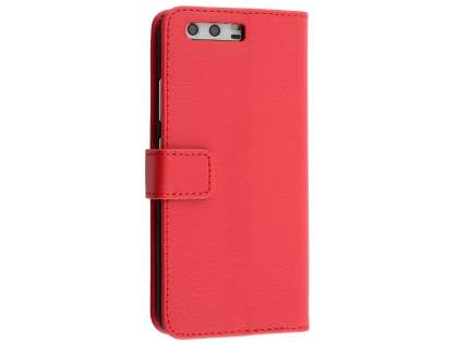 Synthetic Leather Wallet Case with Stand for Huawei P10 - Red Leather Wallet Case