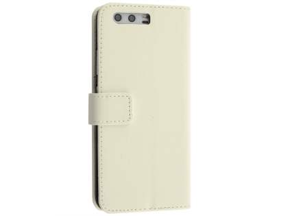 Synthetic Leather Wallet Case with Stand for Huawei P10 - Pearl White Leather Wallet Case