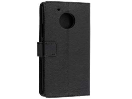 Slim Synthetic Leather Wallet Case with Stand for Motorola Moto G5 Plus - Classic Black Leather Wallet Case