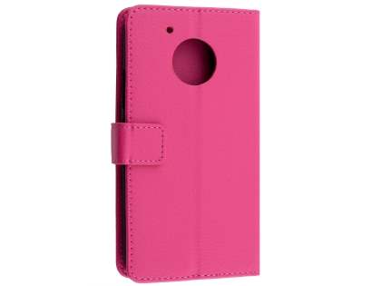 Slim Synthetic Leather Wallet Case with Stand for Motorola Moto G5 Plus - Pink Leather Wallet Case