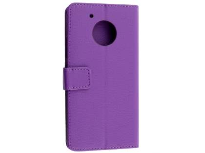 Slim Synthetic Leather Wallet Case with Stand for Motorola Moto G5 Plus - Purple Leather Wallet Case
