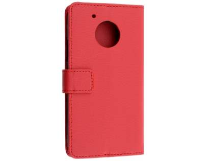 Slim Synthetic Leather Wallet Case with Stand for Motorola Moto G5 Plus - Red Leather Wallet Case