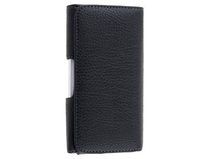 Textured Synthetic Leather Belt Pouch for Telstra 4GX Plus - Classic Black Belt Pouch
